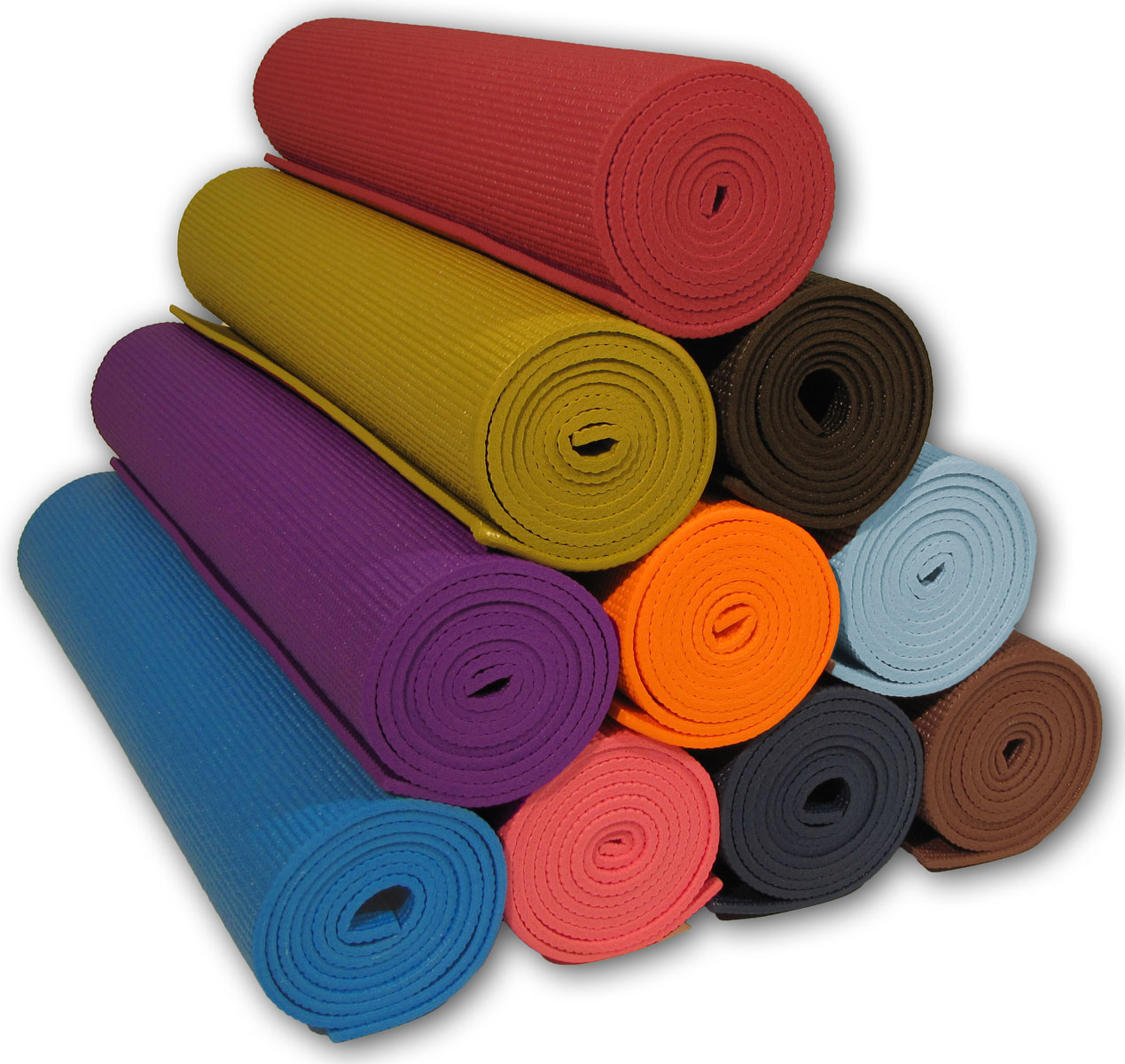 Stacked yoga mats