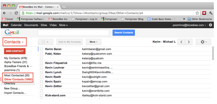 Search for customer contacts in your email account